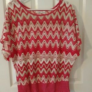 Tops - Coral and tan blouse
